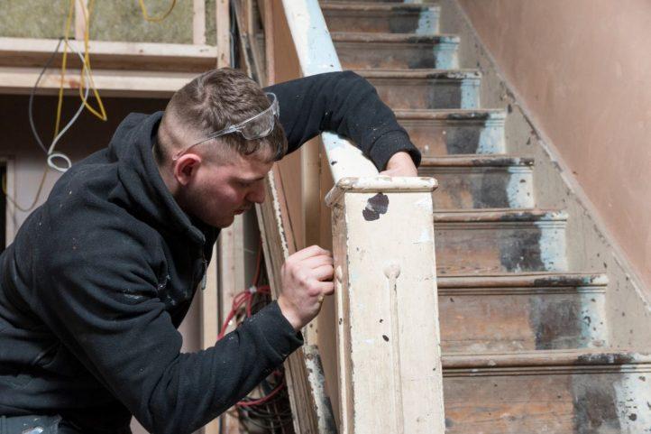 Patrick repairing balustrade 126 HA